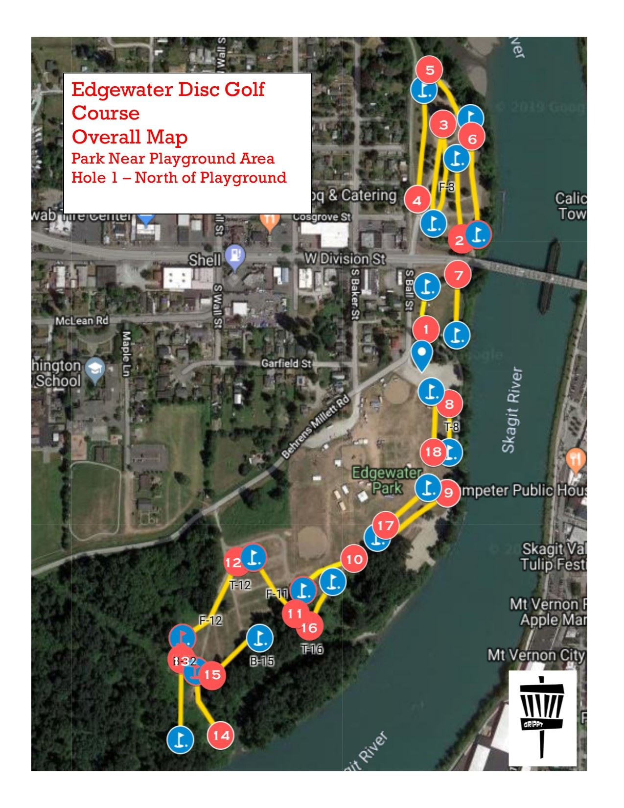 Edgewater Disc Golf Course Map